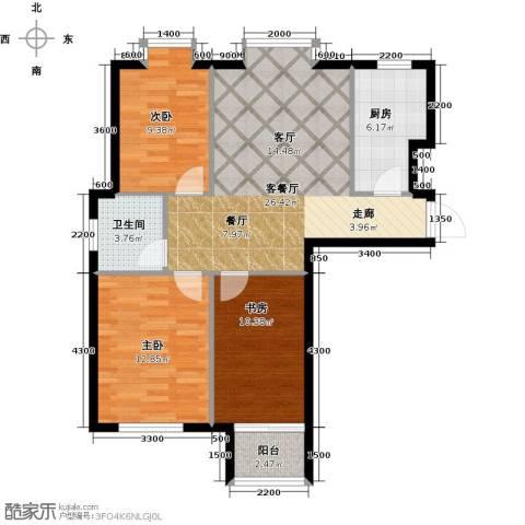 水岸天华3室1厅1卫1厨105.00㎡户型图