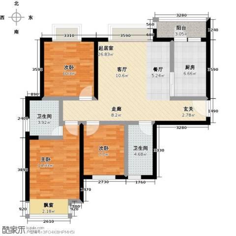 盛华香港城3室0厅2卫1厨106.00㎡户型图