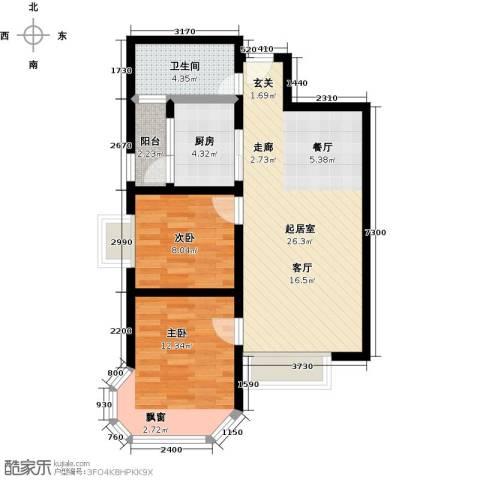 盛华香港城2室0厅1卫1厨84.00㎡户型图