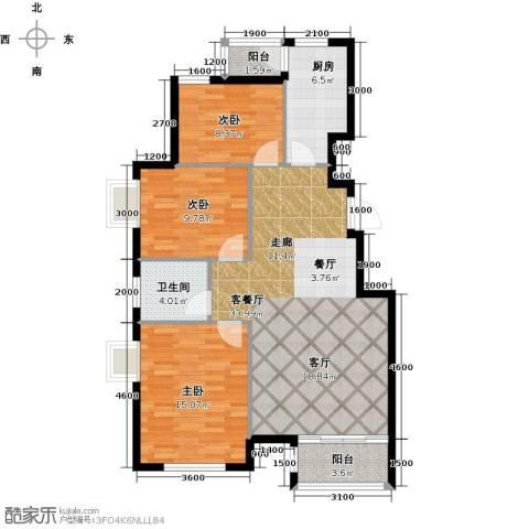 水岸天华3室1厅1卫1厨112.00㎡户型图