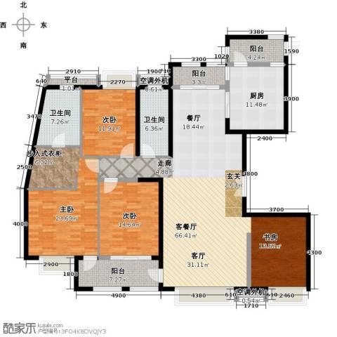 威尔夏大道3室1厅2卫1厨215.00㎡户型图