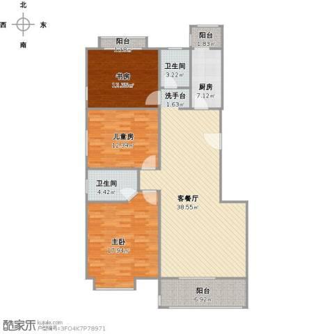 易合坊3室1厅2卫1厨140.00㎡户型图