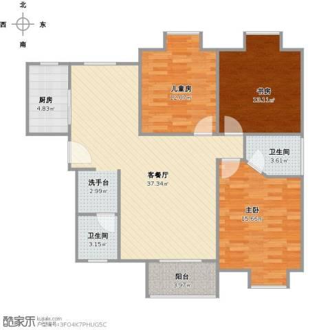 易合坊3室1厅2卫1厨126.00㎡户型图
