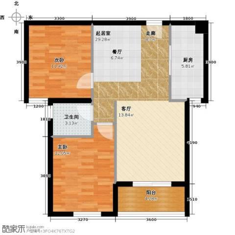 黄冈东方名都2室0厅1卫1厨87.00㎡户型图