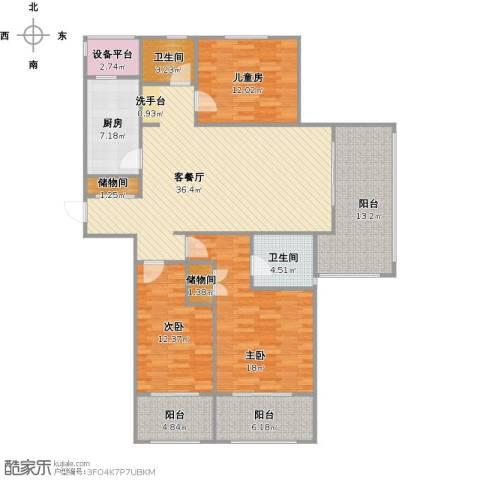 阳光帝景3室1厅2卫1厨167.00㎡户型图