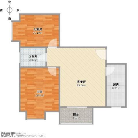 易合坊2室1厅1卫1厨85.00㎡户型图
