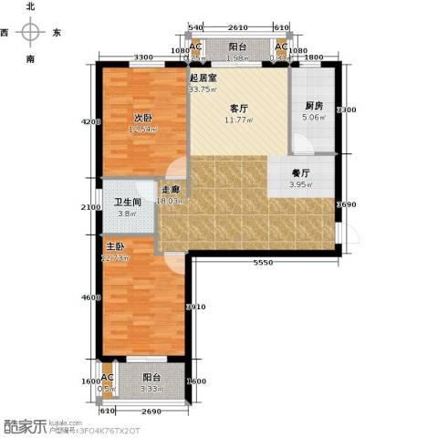 黄冈东方名都2室0厅1卫1厨97.00㎡户型图