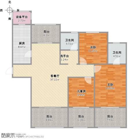 阳光帝景3室1厅2卫1厨166.00㎡户型图
