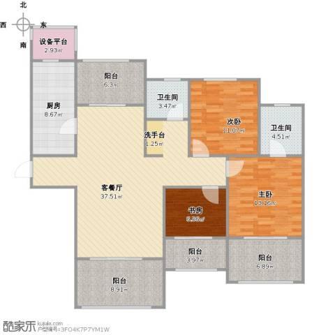 阳光帝景3室1厅2卫1厨154.00㎡户型图