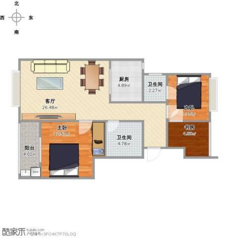 米兰诺贵都3室1厅2卫1厨91.00㎡户型图