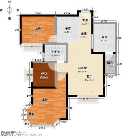 盛华香港城3室0厅1卫1厨95.00㎡户型图