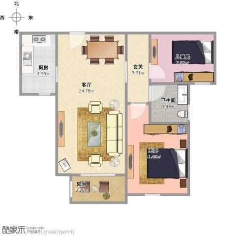 北宁湾2室1厅1卫1厨79.00㎡户型图