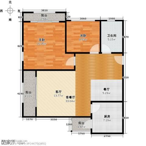 海岸别苑2室1厅1卫1厨84.67㎡户型图