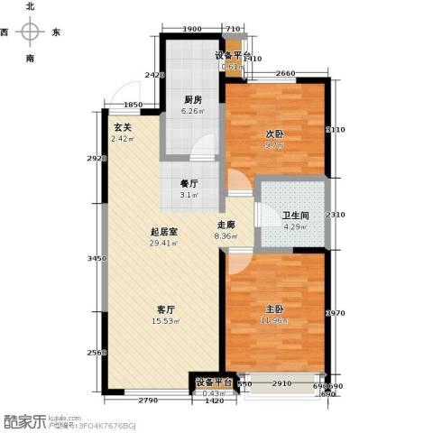 万科明天广场2室0厅1卫1厨92.00㎡户型图