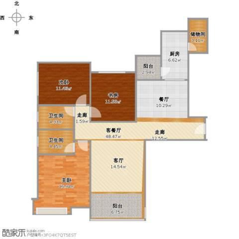 恒大金碧天下3室1厅2卫1厨147.00㎡户型图