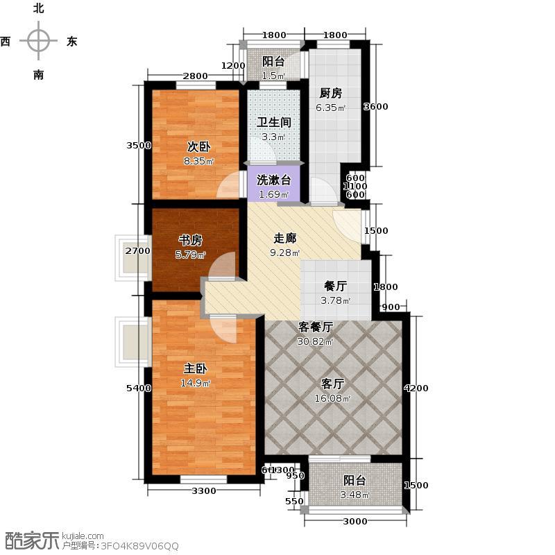 水岸天华105.13㎡三室二厅一卫户型