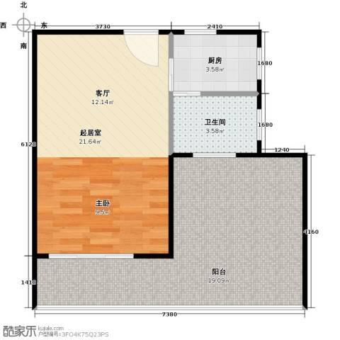 井冈・江山1卫1厨64.00㎡户型图