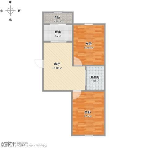 怡景名苑2室1厅1卫1厨81.00㎡户型图
