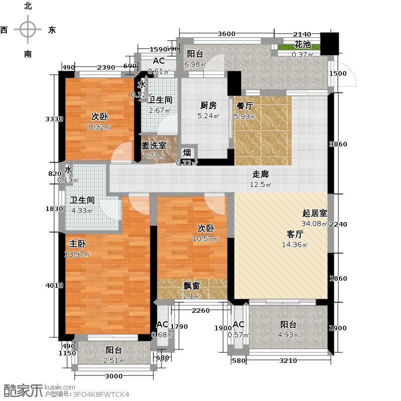 瀚林银座户型3室2卫1厨