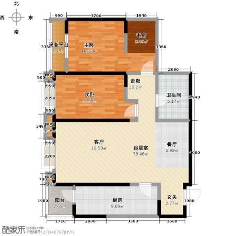万科明天广场2室0厅1卫1厨108.00㎡户型图