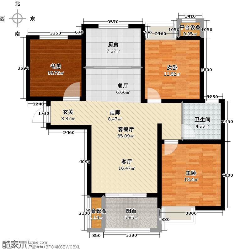 绿地国际花都105.00㎡4#C3-1户型 三室两厅一卫户型3室2厅1卫