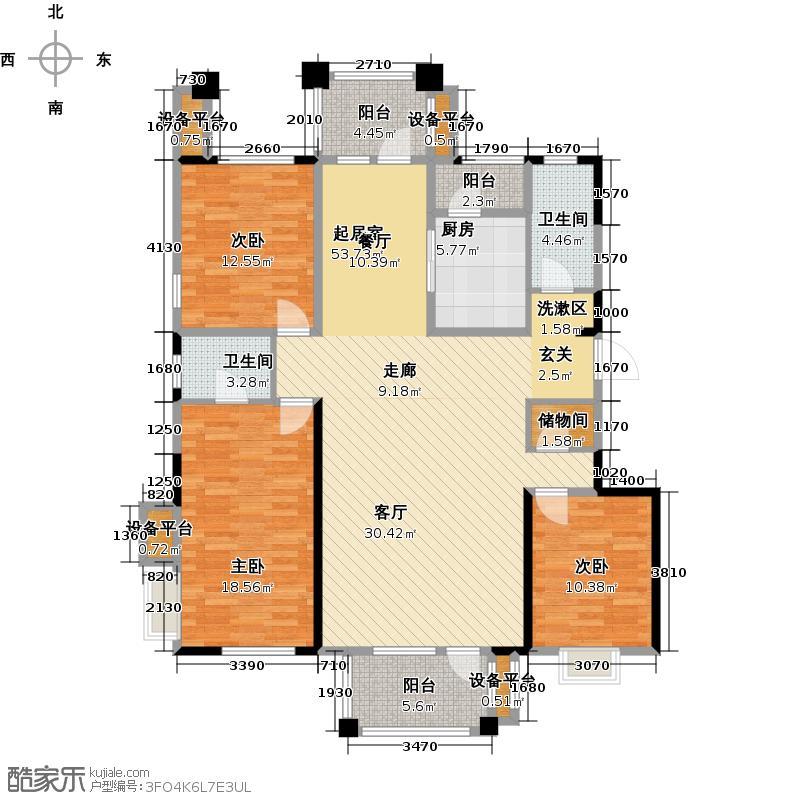 阳光新业国际141.00㎡G2三室二厅二卫户型