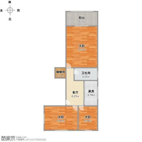 汶水东路510弄小区3室1厅1卫1厨67.00㎡户型图
