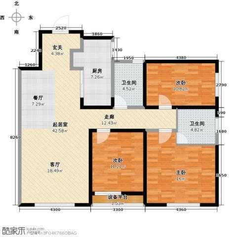 万科明天广场3室0厅2卫1厨140.00㎡户型图