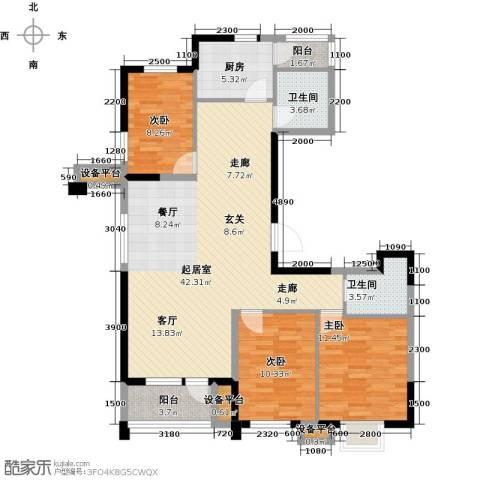 阳光新业国际3室0厅2卫1厨130.00㎡户型图