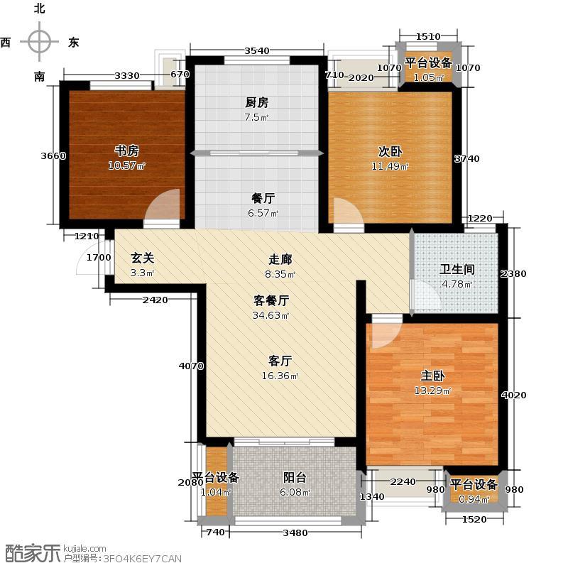 绿地国际花都花溪香调G3-1三室两厅一卫105-108平米户型3室2厅1卫
