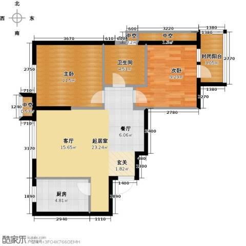 万科明天广场2室0厅1卫1厨74.00㎡户型图