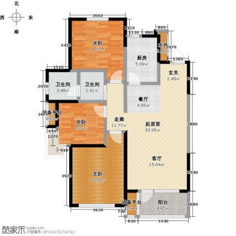 万科明天广场3室0厅2卫1厨115.00㎡户型图