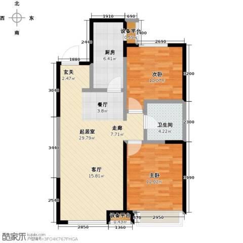 万科明天广场2室0厅1卫1厨88.00㎡户型图