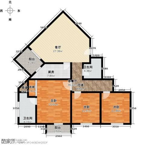新城市经典3室1厅2卫1厨118.00㎡户型图