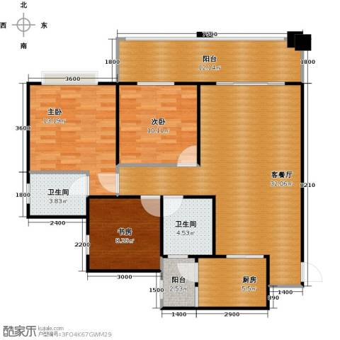 龙乡苑铜新花园3室1厅2卫1厨104.00㎡户型图