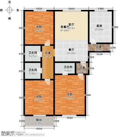 万事吉公寓3室1厅3卫1厨168.38㎡户型图