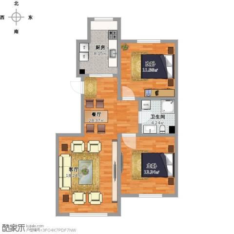 凯旋城2室1厅1卫1厨89.00㎡户型图