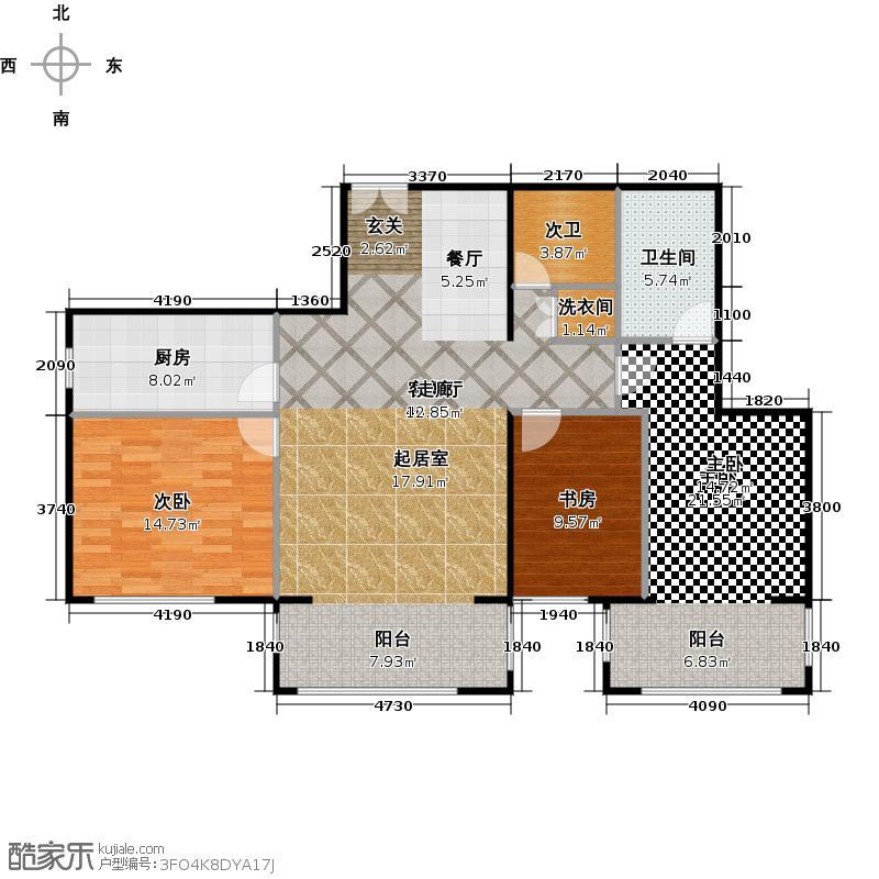 方庄6号D户型三室二厅二卫户型