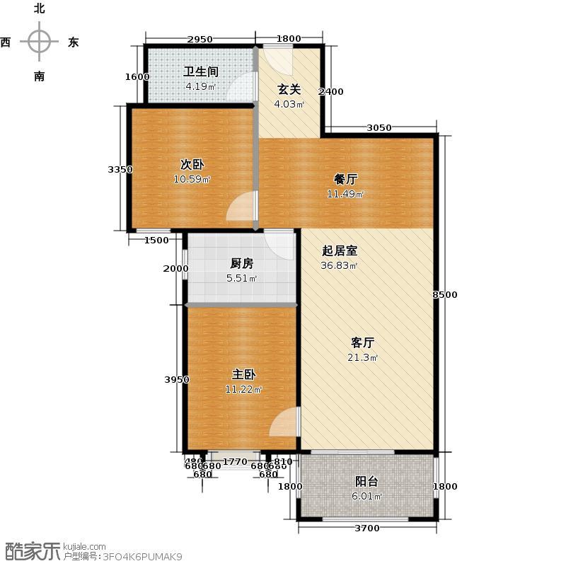 首创漫香郡33/36/40/45号楼A3户型2室2厅1卫