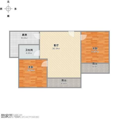 恒盛湖畔豪庭2室1厅1卫1厨109.00㎡户型图