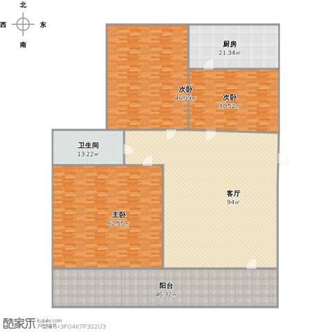 槐苑花园3室1厅1卫1厨409.00㎡户型图