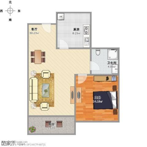 绿地观邸1室1厅1卫1厨85.00㎡户型图