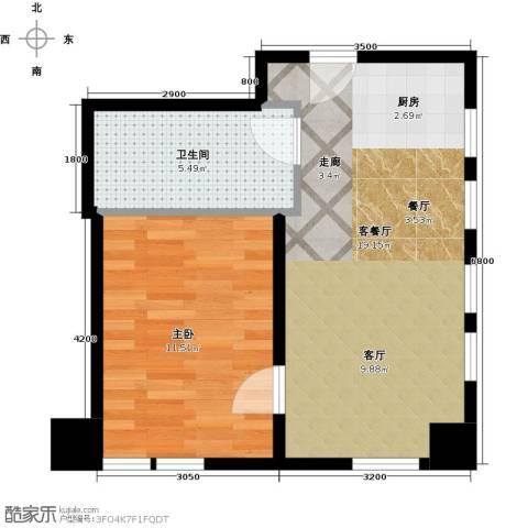 天津公馆1室1厅1卫0厨51.00㎡户型图