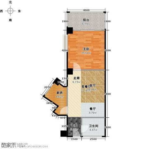 金雅迪大厦1室1厅1卫1厨53.17㎡户型图
