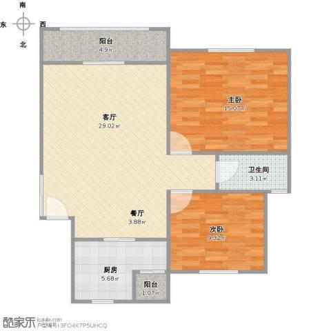 香榭丽苑2室1厅1卫1厨92.00㎡户型图