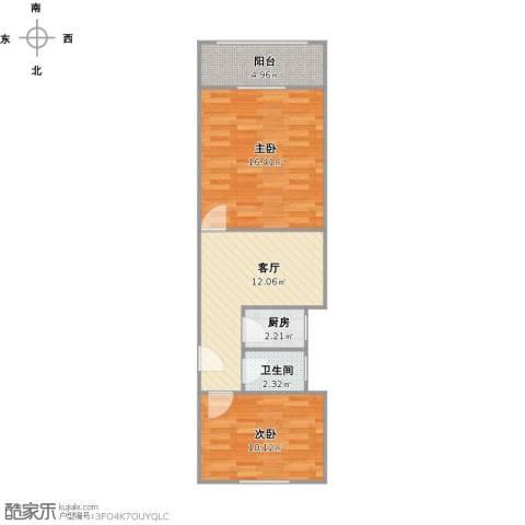 梅陇十一村2室1厅1卫1厨64.00㎡户型图