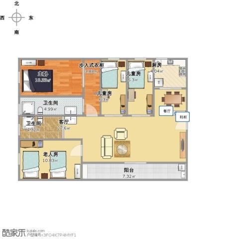林和西小区4室1厅2卫1厨117.00㎡户型图
