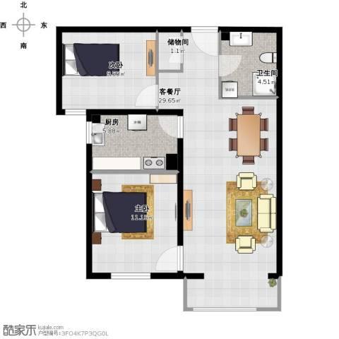 亿朋苑2室1厅1卫1厨112.00㎡户型图