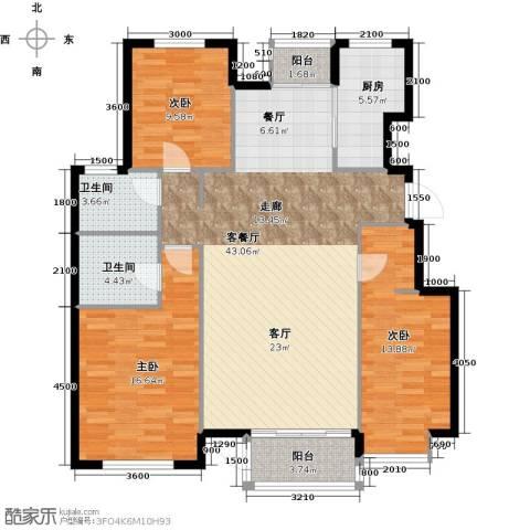水岸天华3室1厅2卫1厨134.00㎡户型图