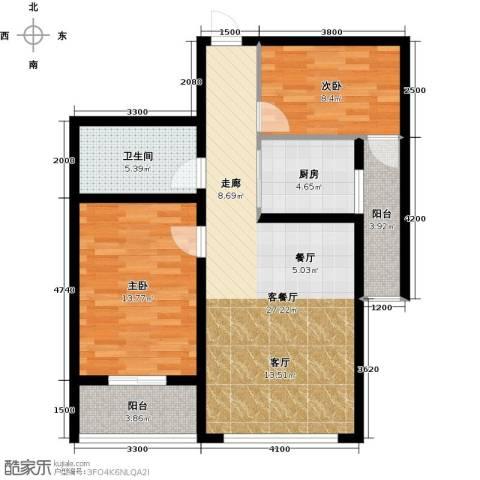 水岸天华2室1厅1卫1厨97.00㎡户型图